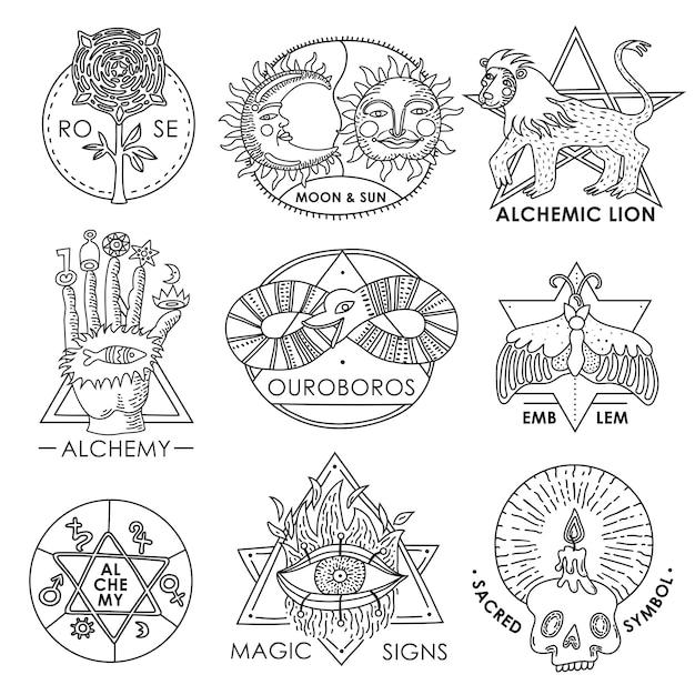 Ensemble dessinés à la main des emblèmes magiques Vecteur gratuit