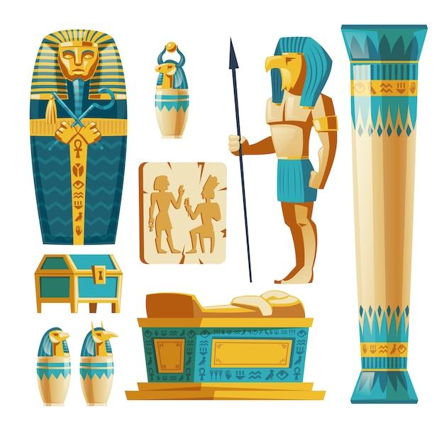 Ensemble de dessins animés d'objets d'égypte ancienne isolés sur fond. Vecteur gratuit