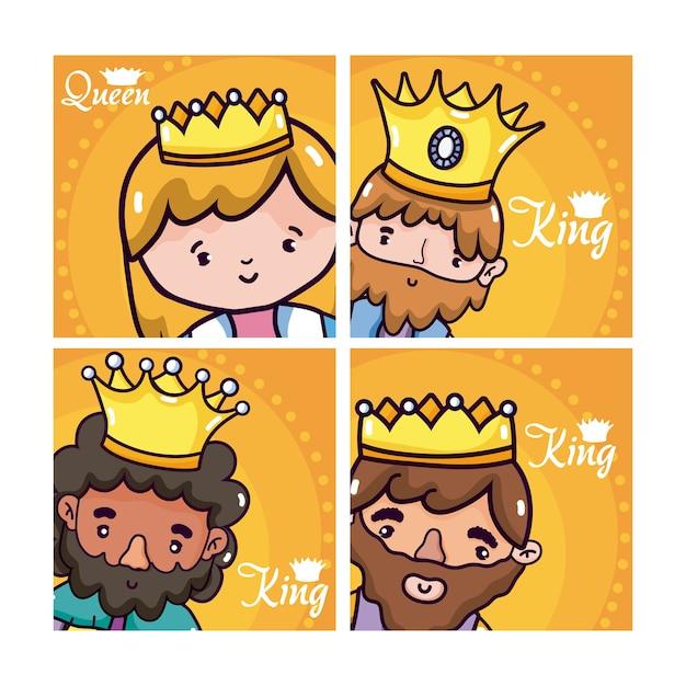 Ensemble de dessins animés rois et reine Vecteur Premium