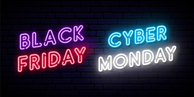 Ensemble De Dessins Au Néon Black Friday Et Cyber Monday. Vecteur Premium