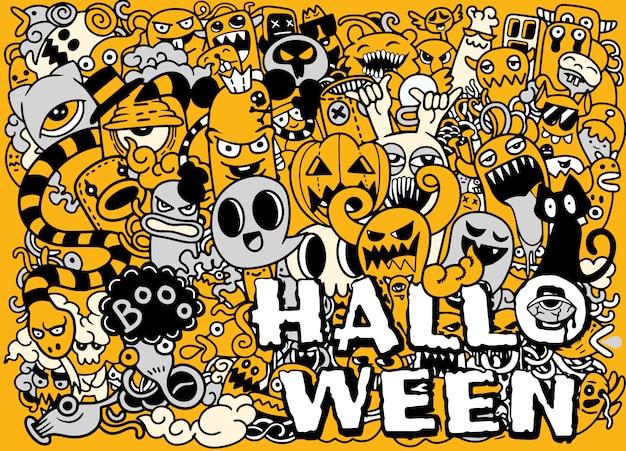 Ensemble de dessins dessinés à la main doodle d'objets et de symboles sur le thème de l'halloween Vecteur Premium
