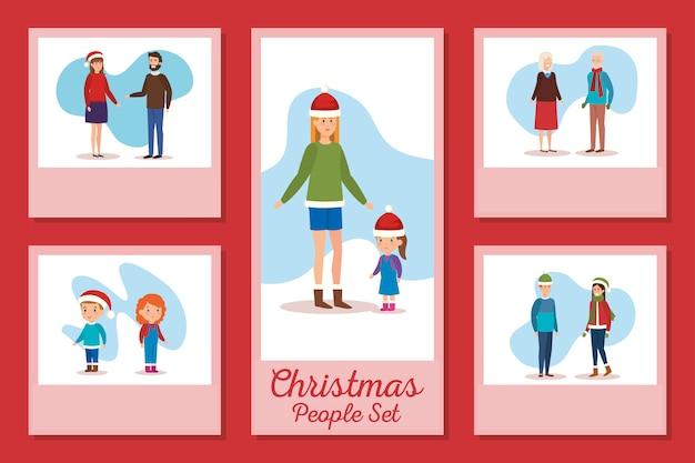 Ensemble De Dessins De Personnes De Noël Vecteur Premium