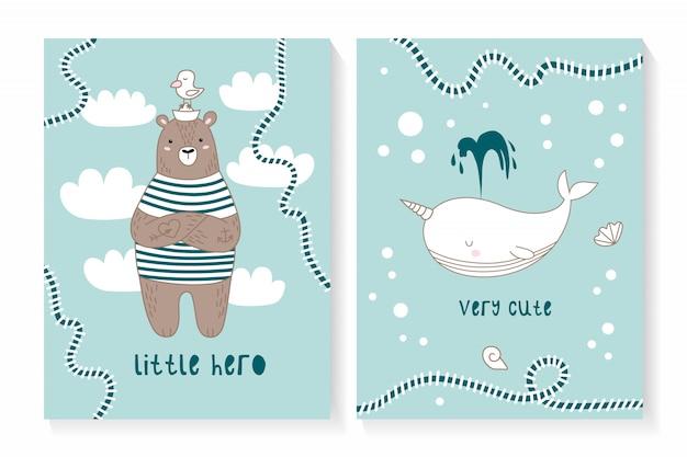Un ensemble de deux cartes avec un ours et une baleine mignons Vecteur Premium