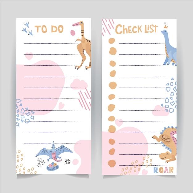 Ensemble de deux modèles imprimables de faire et liste de vérification décorée avec des dinosaures dessinés à la main. Vecteur Premium
