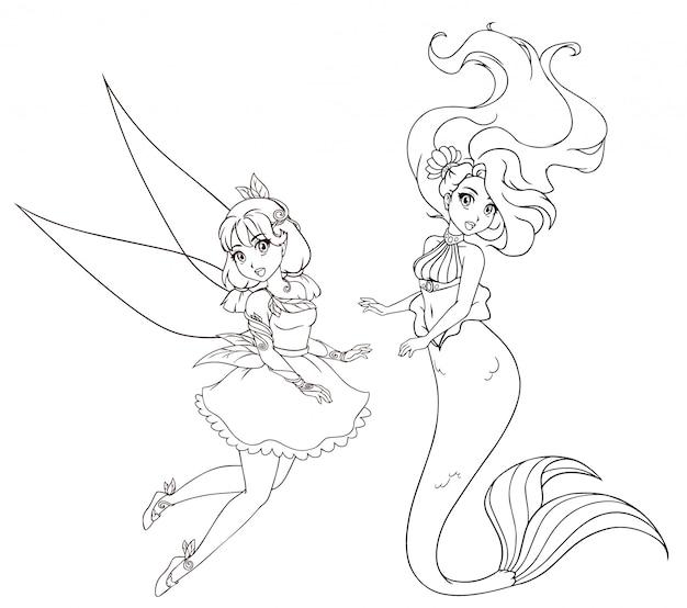 Ensemble De Deux Personnages De Style Anime Sirene Et Fee Illustration Dessinee A La Main Sur Fond Blanc Pour Cahier De Coloriage Tatouage Carte Modele De T Shirt Etc Vecteur Premium
