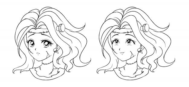 Ensemble De Deux Portrait De Fille Mignonne Manga Zombie. Deux Expressions Différentes. Illustration De Contour De Vecteur Dessiné Main Style Anime Rétro Des Années 90. Dessin Au Trait Noir. Vecteur Premium