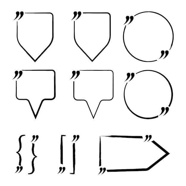 Ensemble de devis vierge, guillemets. modèle de note, message, commentaire. illustration vectorielle Vecteur Premium
