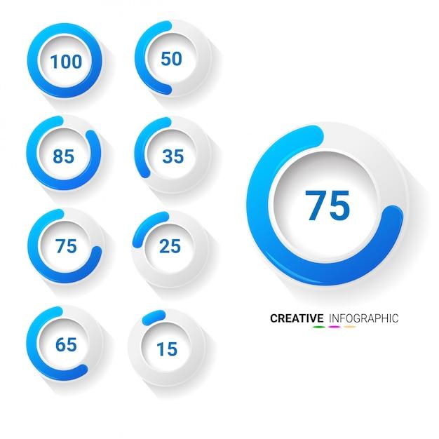 Ensemble de diagrammes de pourcentage de cercle pour infographie Vecteur Premium