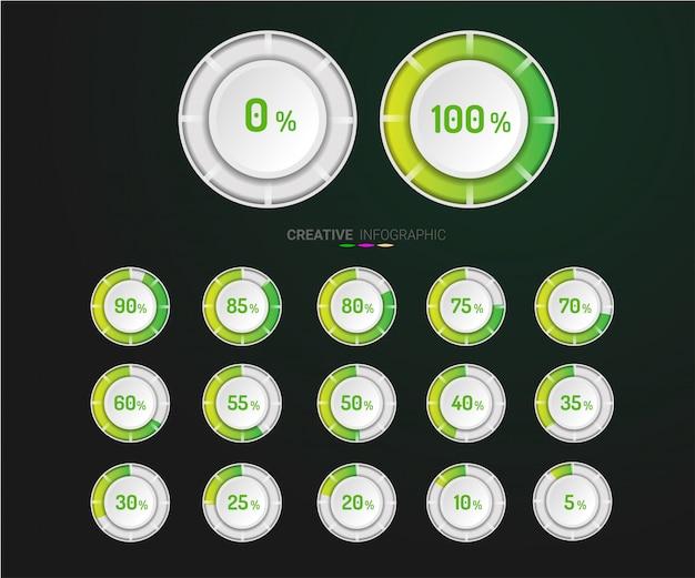 Ensemble de diagrammes de pourcentage de cercle. Vecteur Premium