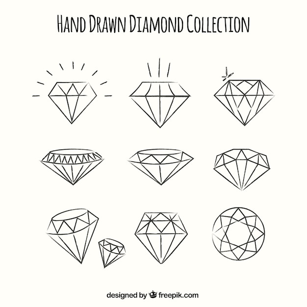 Ensemble De Diamants Dessinés à La Main Vecteur Premium