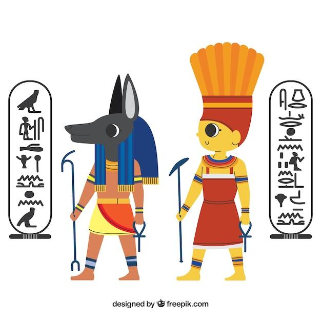 Ensemble De Dieux Et De Symboles De L'egypte Vecteur gratuit