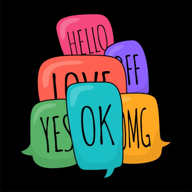 Ensemble De Différentes Bulles Colorées Dans Un Style Doodle Avec Texte Ok, Bonjour, Oui, Non, Omg, Amour, Bff à L'intérieur Vecteur Premium