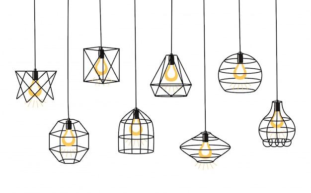 Ensemble de différentes lampes loft géométriques et abat-jour en fer. style industriel. Vecteur Premium