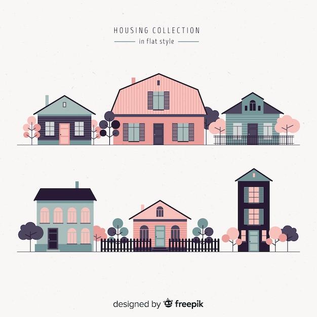 Ensemble de différentes maisons roses Vecteur gratuit