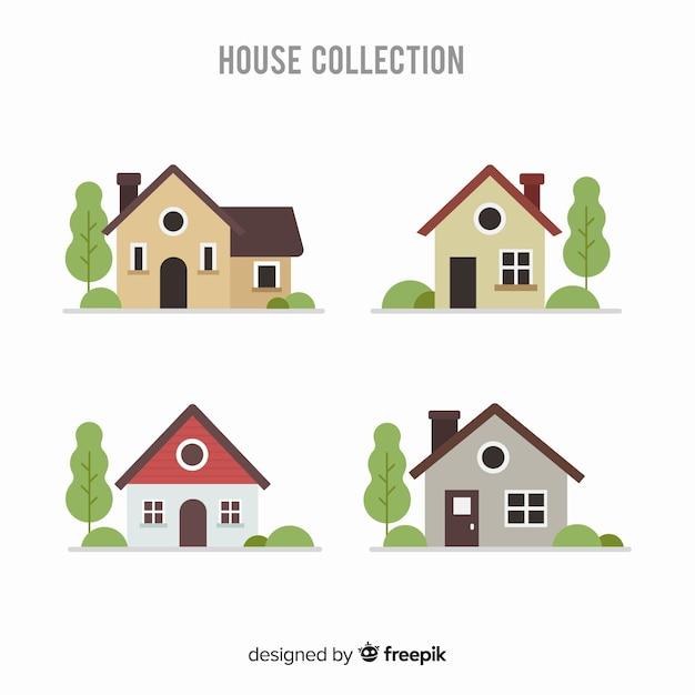 Ensemble de différentes maisons Vecteur gratuit