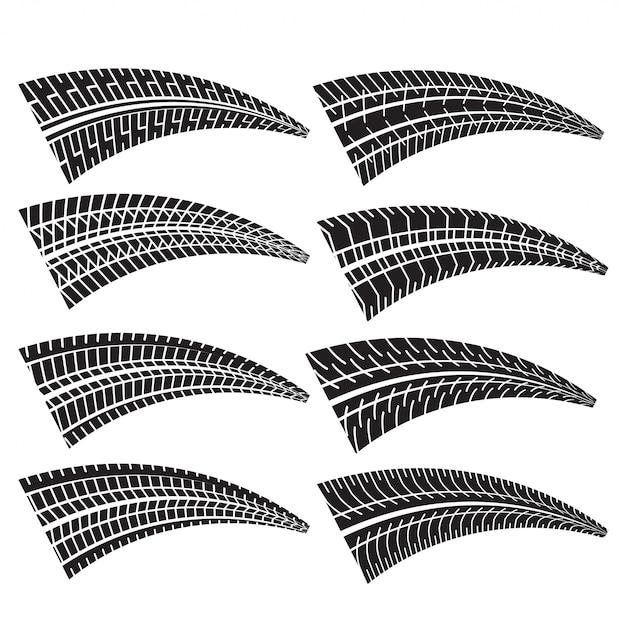 Ensemble de différentes marques d'impression de pneus Vecteur gratuit
