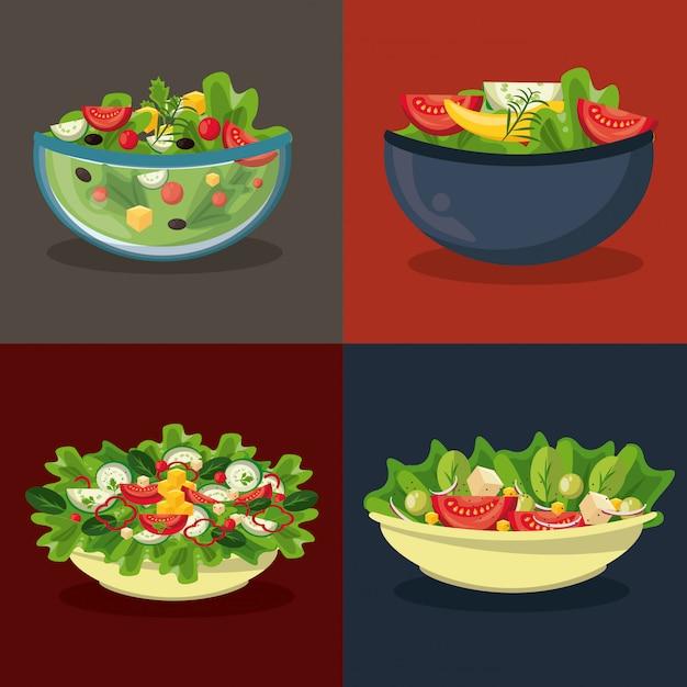 Ensemble de différentes salades dans des bols dans des cadres colorés Vecteur Premium