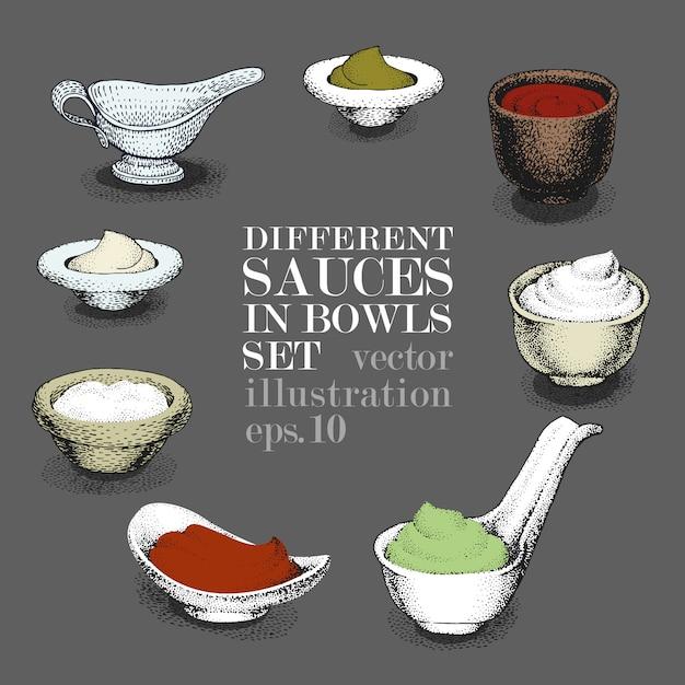 Ensemble de différentes sauces dans des bols. dessiné à la main Vecteur Premium