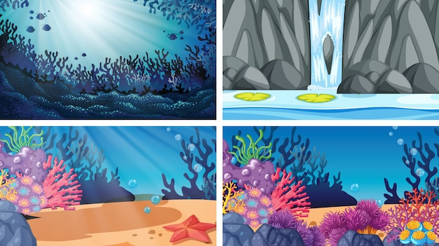 Ensemble de différentes scènes de l'eau Vecteur gratuit