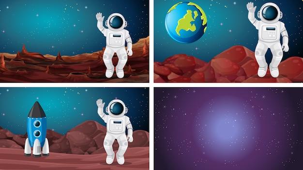 Ensemble de différentes scènes de l'espace Vecteur gratuit