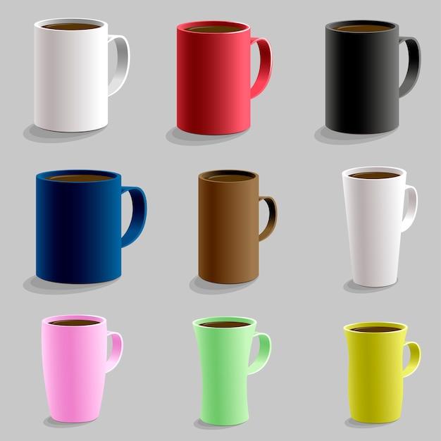 Ensemble de différentes tasses en forme de tasse pour boisson chaude caffe. Vecteur Premium