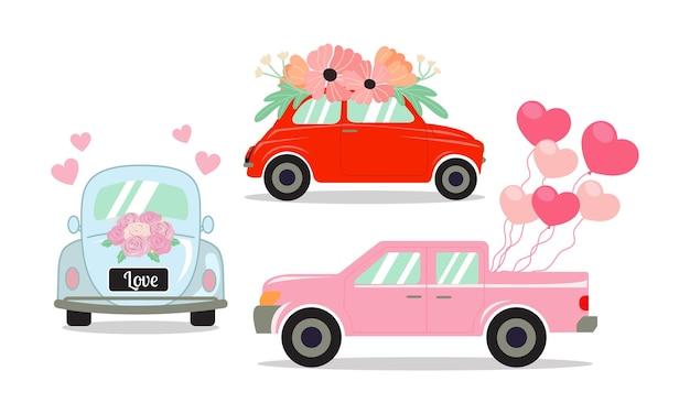 Ensemble De Différentes Voitures Décorées De Fleurs, De Ballons En Forme De Coeur Et De Bouquet De Roses. Vecteur Premium