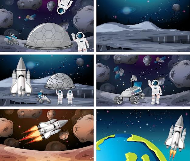 Ensemble de différents astronautes et scènes de fusée Vecteur gratuit
