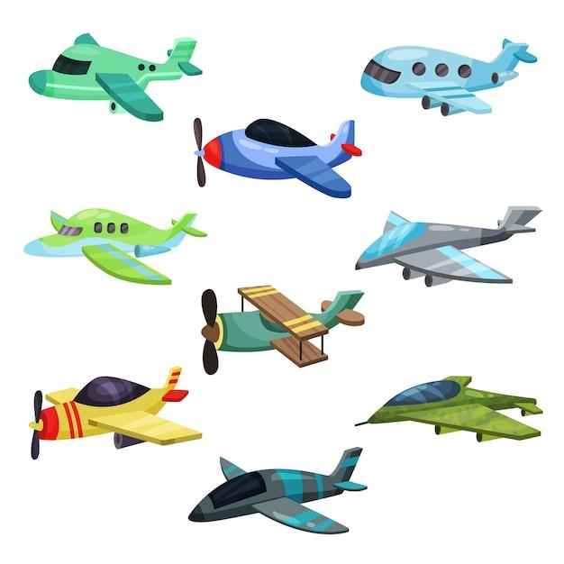 Ensemble De Différents Avions. Avions à Réaction Militaires, Avion De Passagers Et Biplan. éléments Pour Jeu Mobile Ou Livre Pour Enfants Vecteur Premium