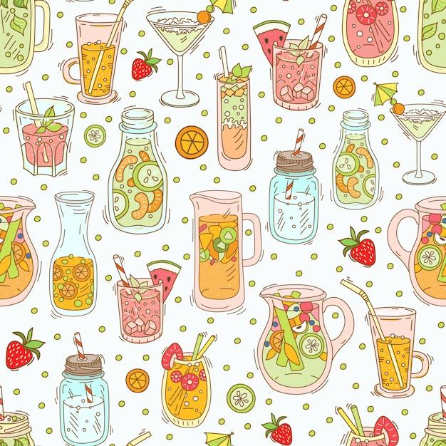 Ensemble De Différents Cocktails Et Smoothies Vecteur Premium