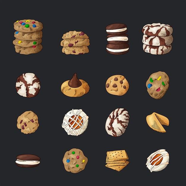 Ensemble De Différents Cookies Sur Fond Isolé. Vecteur Premium