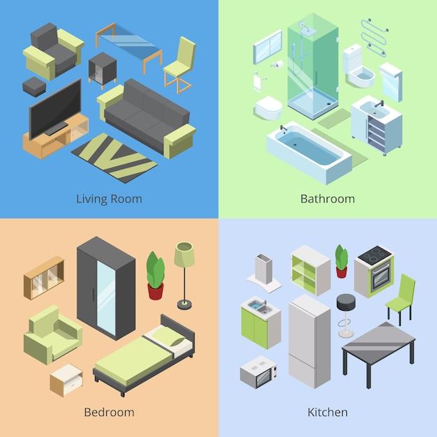 Ensemble de différents éléments de mobilier pour les chambres dans la maison moderne. Vecteur Premium