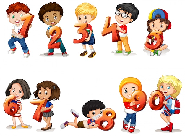 Ensemble De Différents Enfants Tenant Un Numéro De Math Vecteur gratuit