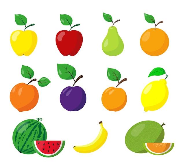 Ensemble De Différents Fruits. Icônes De Fruits Sur Fond Blanc. Illustration. Vecteur Premium