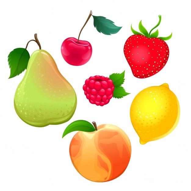 Ensemble de différents fruits vecteur isolé objets Vecteur gratuit