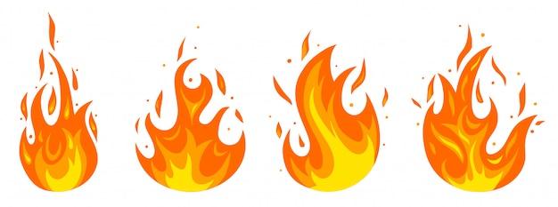 Ensemble De Différents Incendies En Style Cartoon Vecteur Premium