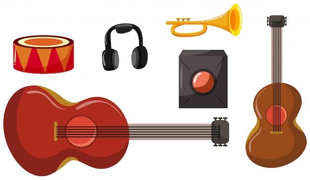 Ensemble de différents instruments de musique Vecteur Premium