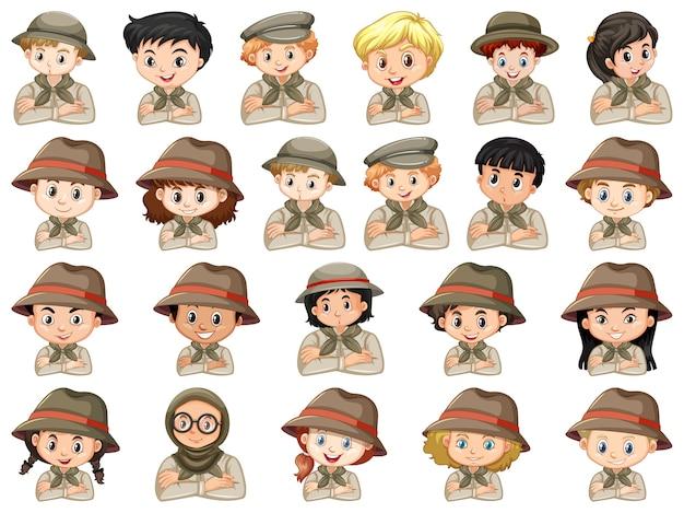 Ensemble De Différents Personnages De Costume De Scout Garçons Et Filles Sur Fond Blanc Vecteur gratuit