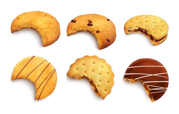 Ensemble De Différents Types De Biscuits Savoureux Mordus Glacés Avec Des Miettes De Chocolat Et Une Couche De Confiture Isolée Réaliste Vecteur gratuit