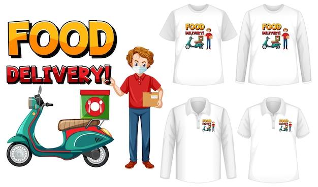 Ensemble De Différents Types De Chemises Avec écran De Logo De Livraison De Nourriture Sur Des Chemises Vecteur gratuit