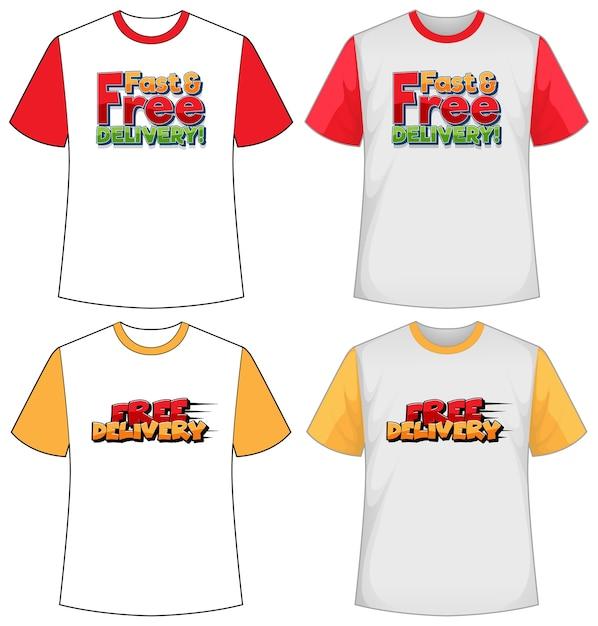 Ensemble De Différents Types D'écran De Logo De Livraison Sur Un T-shirt De Couleur Différente Isolé Vecteur gratuit