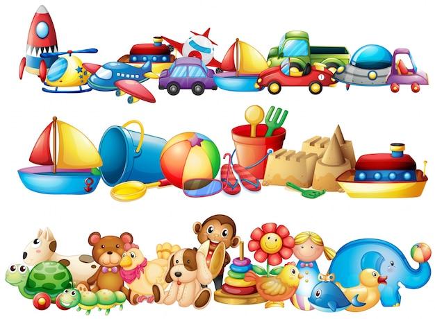 Un ensemble de différents types de jouets Vecteur gratuit