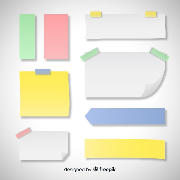 Ensemble de différents types de notes autocollantes dans un style réaliste Vecteur gratuit