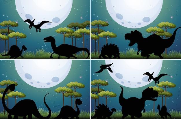 Ensemble De Dinosaure Dans La Nature Vecteur gratuit