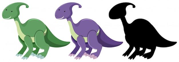 Ensemble de dinosaure parasaurolophus Vecteur Premium