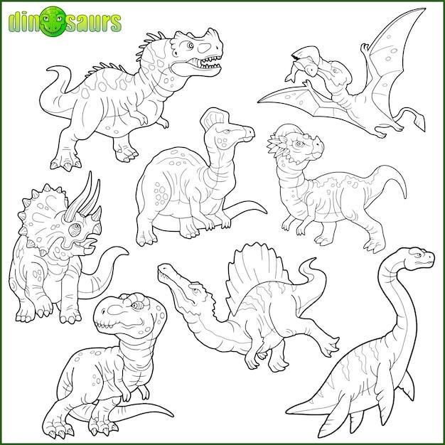 Ensemble De Dinosaure Vecteur Premium