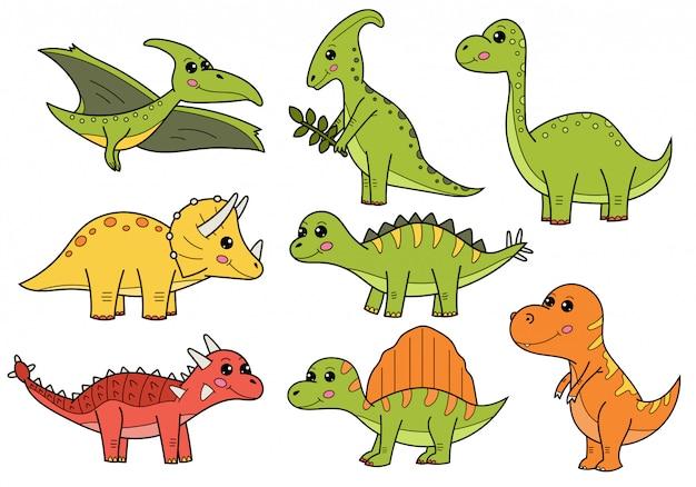 Ensemble de dinosaures de dessin animé mignon. Vecteur Premium