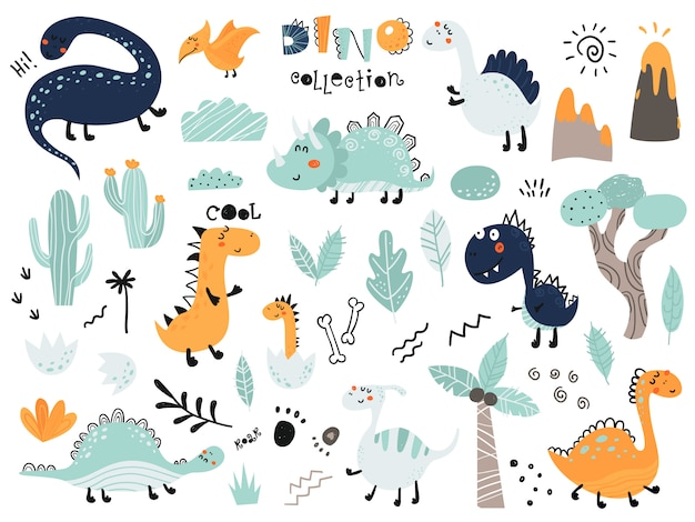 Ensemble De Dinosaures Mignons, Feuillage, Volcan, Cactus Vecteur Premium