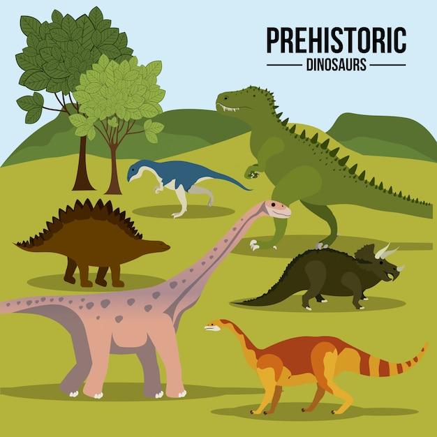 Ensemble de dinosaures préhistoriques Vecteur Premium