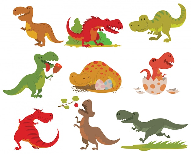 Ensemble De Dinosaures T-rex. Vecteur Premium