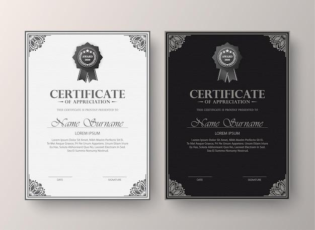 Ensemble De Diplôme De Meilleur Certificat Classique. Vecteur Premium